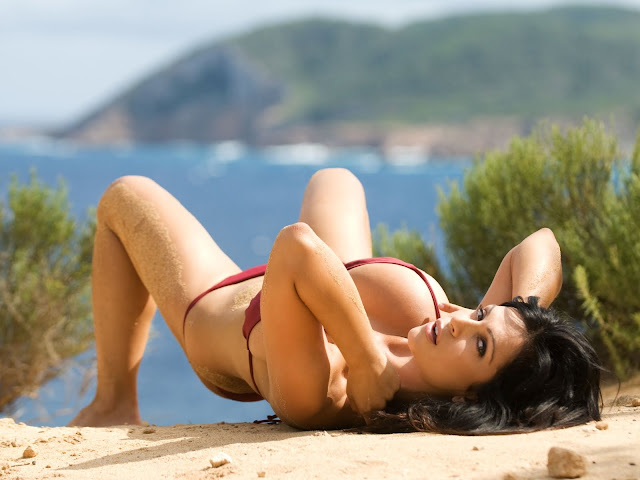 Red Bikini Wallpaper Denise Milani