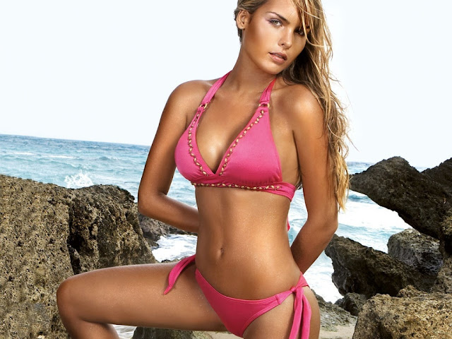 Sexy Pink Bikini Beach Girl Wallpaper