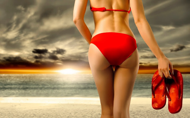 Red Bikini Beach Girl Wallpaper