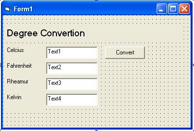 Design Simple VB Program Degree Conversion from Celcius