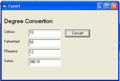 Simple VB Program Degree Conversion from Celcius