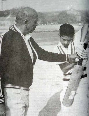 Sachin Tendulkar with coach Mr. R. Achrekar