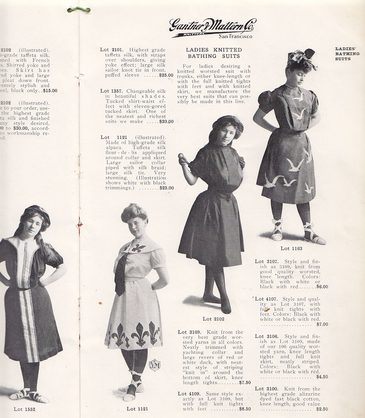 Also from 1906- full swim dresses. Note the tights and lace-up shoes.