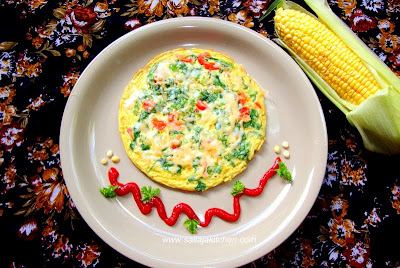 image of Oats Vegetable Omelet Recipe / Oats Vegetable Omelette Recipe