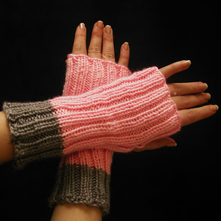 These pink and grey fingerless gloves are still available at www.allthingstangled.etsy.com