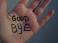A Hand that has Good Bye written on it