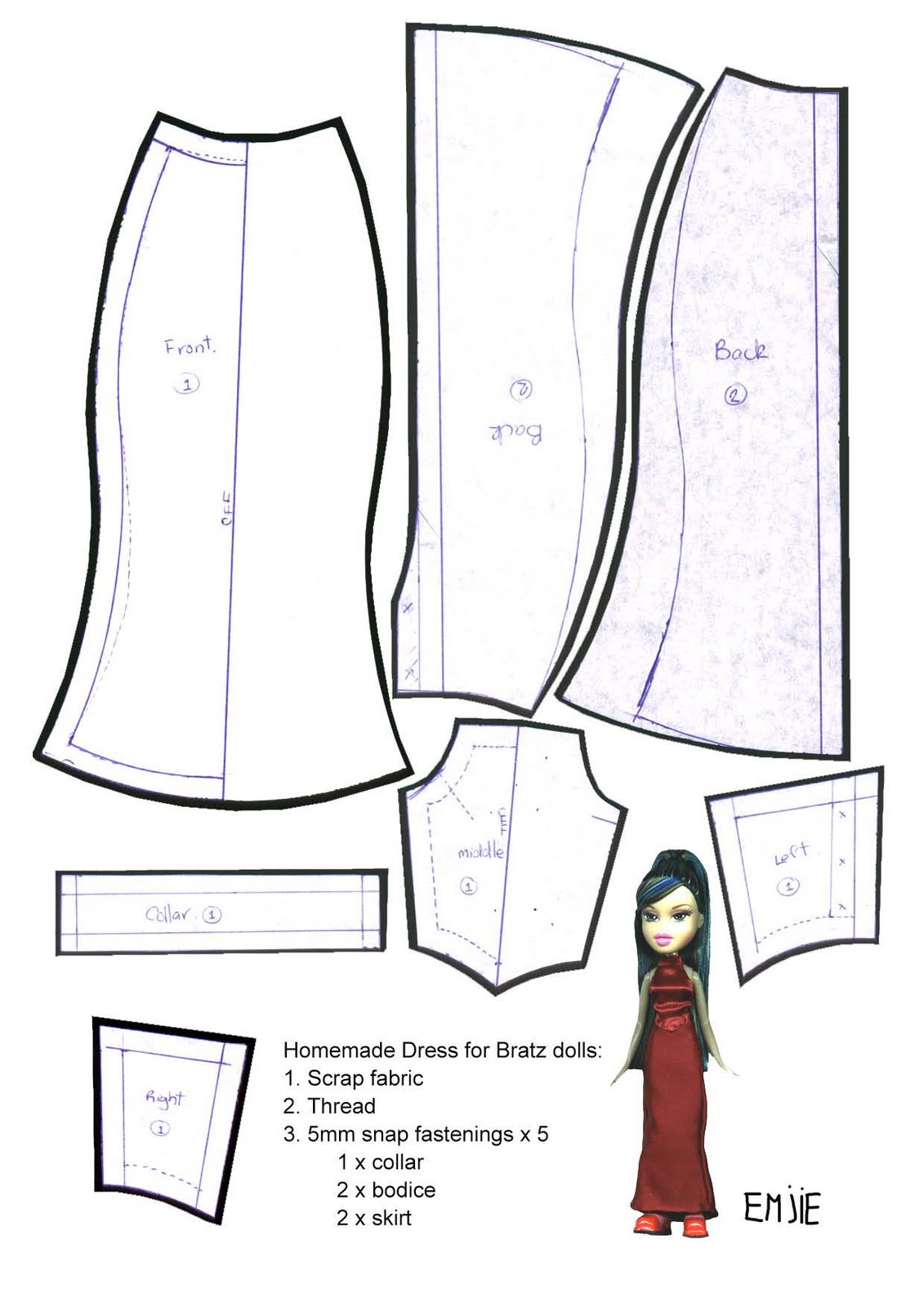 Как сделать юбку карандаш для куклы
