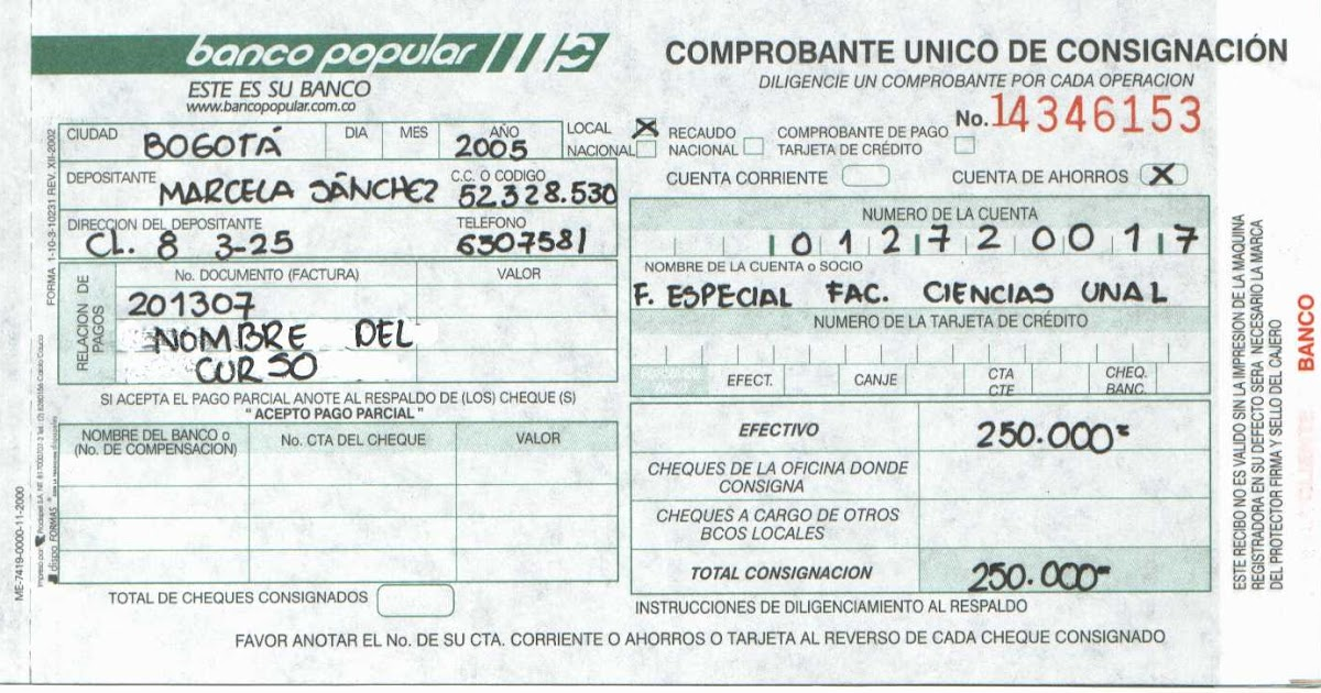 Soportes De Contabilidad 1 2 Recibo De Consignacion
