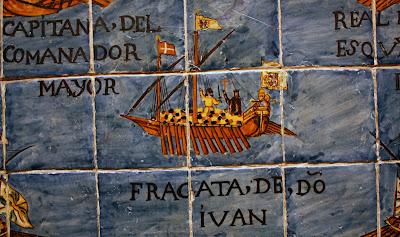 Detalle de la representación de la batalla de Lepanto en azulejos vidriados en la Capella del Roser, Valls