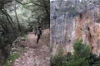 Esquerra:Darrer tros de l'excursió. Dreta: Gent fent escalada