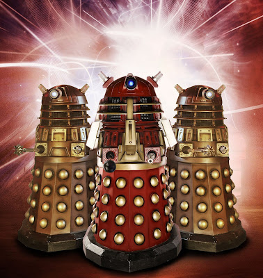 The Red Dalek with two other Daleks, who have all-new weapons in place of the plungers