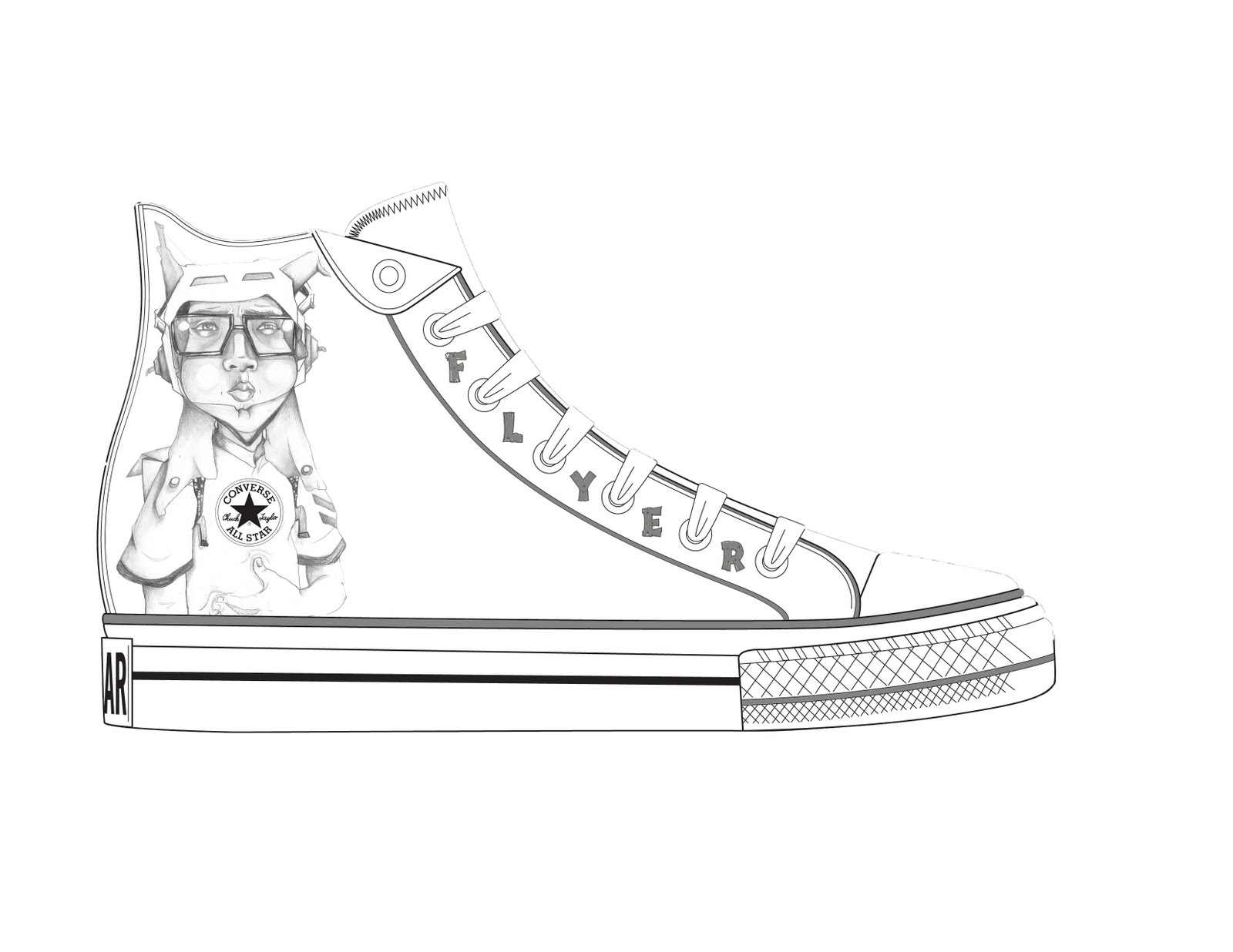 Converse Shoe Free Coloring Pages