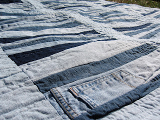~*~*~Fields Of Heather~*~*~: Denim quilt (made from old jeans)