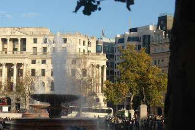 A view of one of the fountains in Trafalgar Square