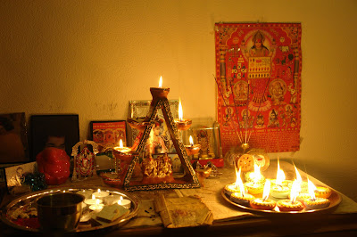 Diwali Celebration with gods and diyas