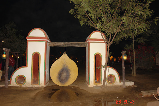 A huge metal disc meant to be in the shape of a gong in the village of Chokhi Dhani