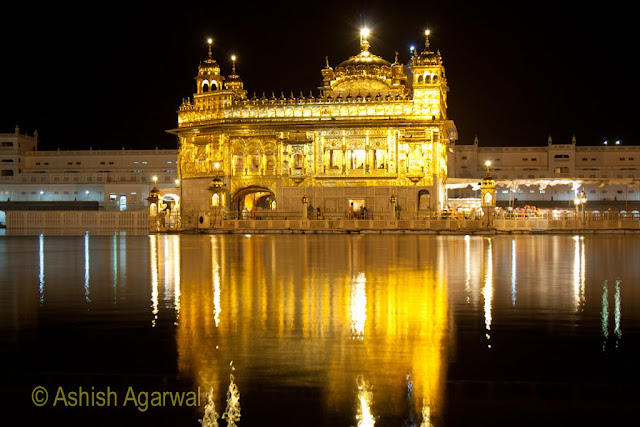 View of the Golden Temple in Amritsar, located in the middle of the Holy Sarovar