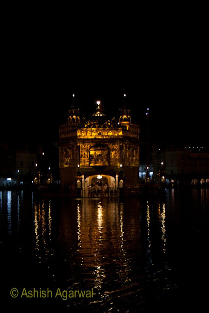 View of the Harmandir Sahib in the Golden Temple in Amritsar at night