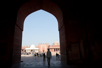 A view into the Fatehpur Sikri compound from the open doorway
