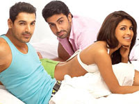 Dostana Movie (2008) starring Priyanka, Abhishek and John Abraham
