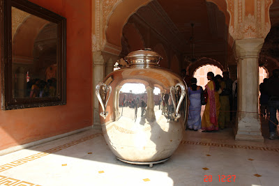 Great silver urn in Jaipur city palace is extremely polished