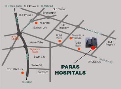 Map of location of Paras Hospital in Gurgaon
