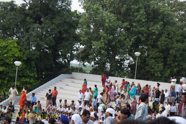 Crowd assembled at the stadium like structure at the Wagah Border between India and Pakistan