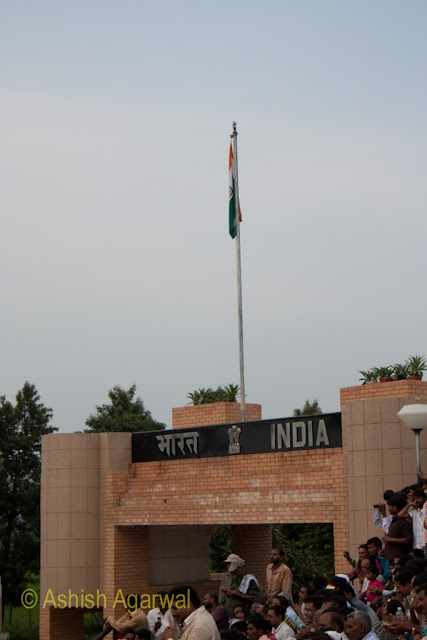 The tricolor on the Indian side of the India-Pakistan border at Wagah