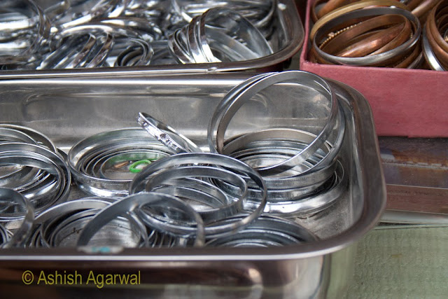 View of steel bangles (kada) for sale at the shops in the Golden Temple complex