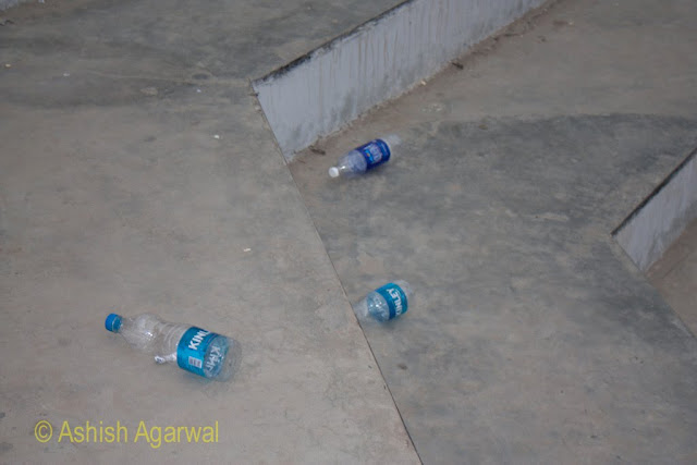 Trash lying  on the ground after the ceremony at Wagah Border between India and Pakistan