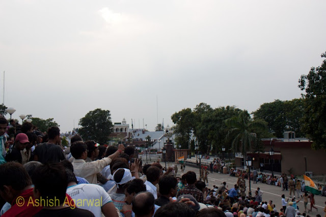 A view showing the large number of crowds watching the flag lowering ceremony at the Wagah Border
