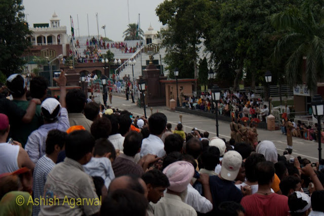 When the border fences between India and Pakistan open during the flag lowering ceremony at the Wagah Border