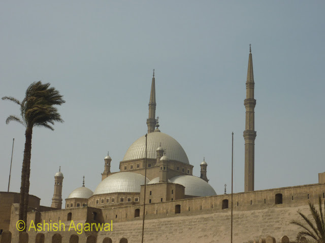 Saladin Citadel in Cairo - view of the walls and the domes of the Mohammed Ali Mosque