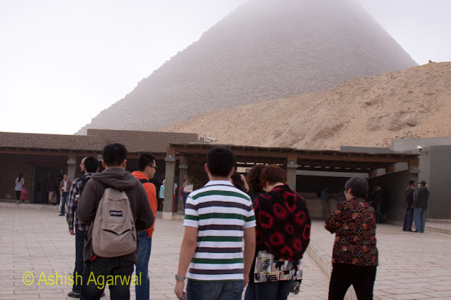 Cairo Pyramids - Visitors heading to the pyramids, heading for the security zone