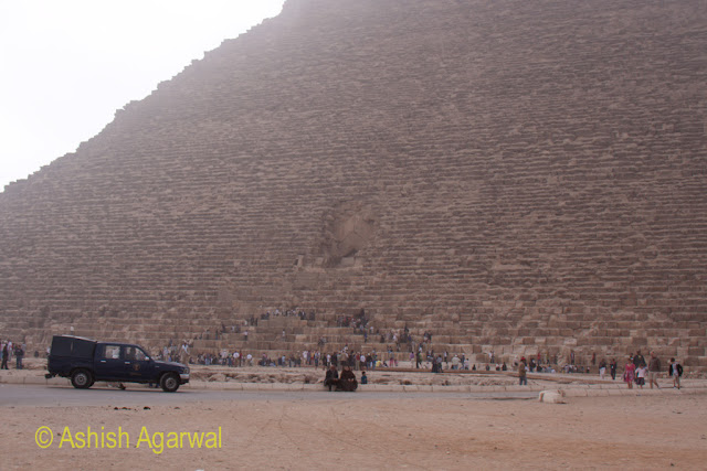 Great Pyramid - A police vehicle near the Great Pyramid, showcasing the tight security
