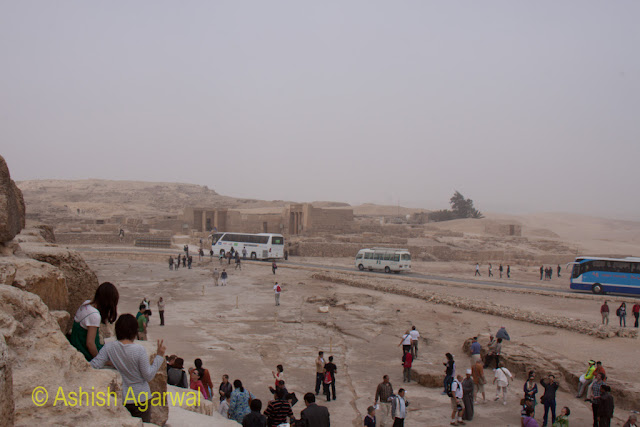Cairo Pyramids - View of the people standing next to the Great Pyramid in Giza