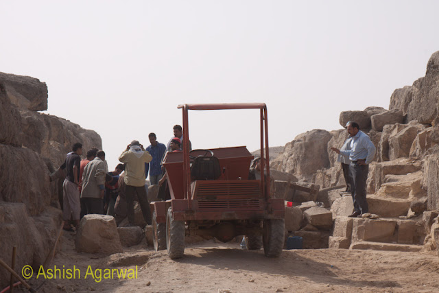 Cairo Pyramid - Machinery used for ferrying of the heavy stones during the restoration work next to the Great Pyramid