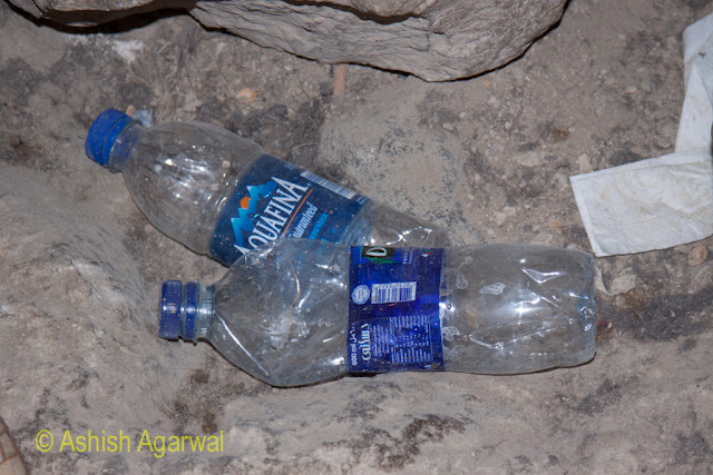 Rubbish lying inside the burial chamber next to the Great Pyramd