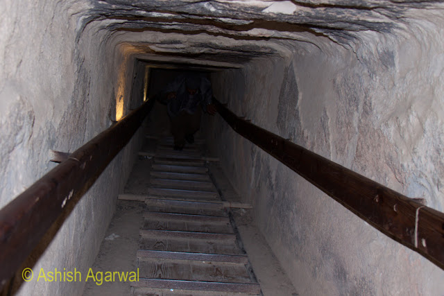 Cairo Pyramids - The steep path from the burial chamber of the structure next to the Great Pyramid