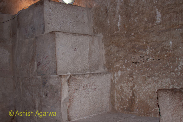Cairo Pyramids - The steep steps leading up from the burial chamber in the structure next to the Great Pyramid