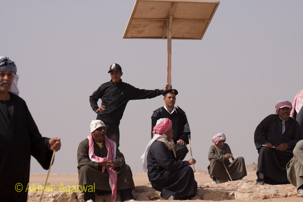 Security staff and police personnel at the Panorama point in Giza, ensuring security for tourists