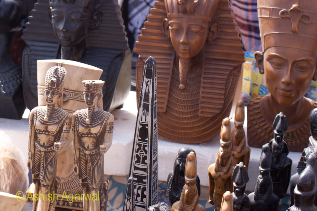 Images of pharaohs and the obelisk on sale at the Panorama Point in Giza