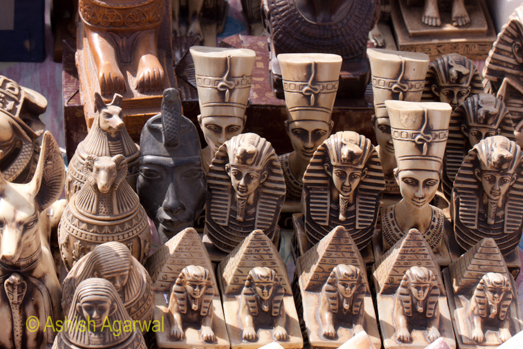 Heads and figurines of many pharaohs for sale at the Panorama Point near Giza