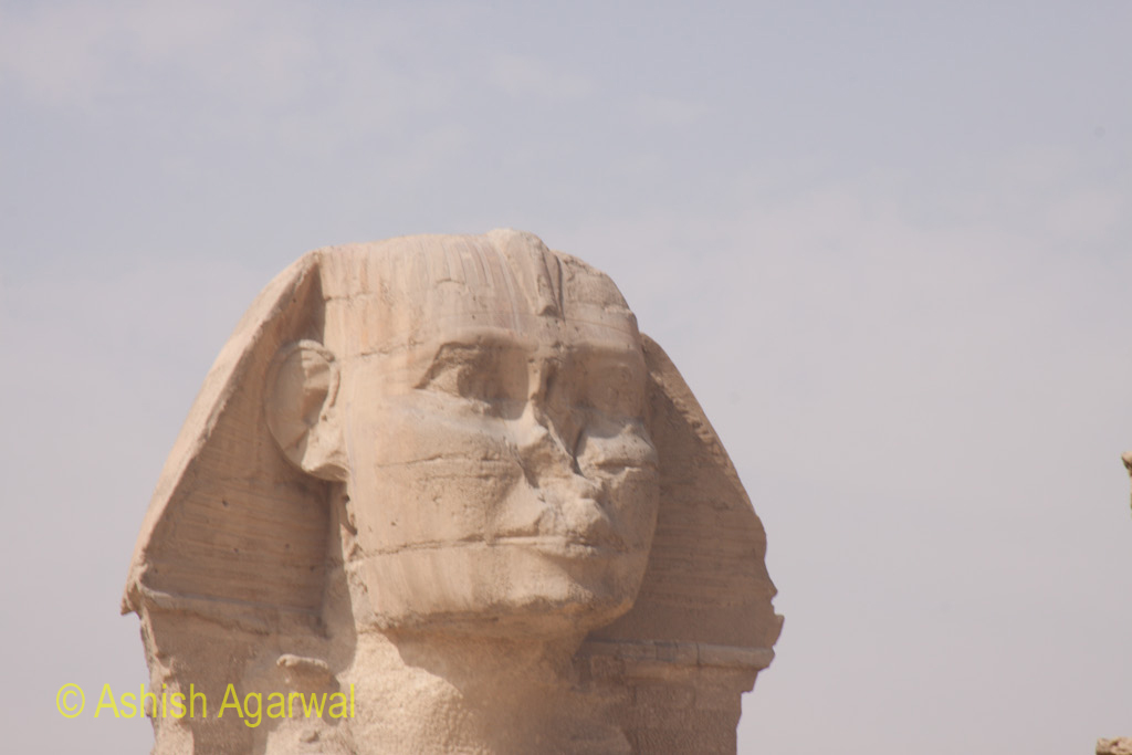 Photo of the head of The Sphinx at Giza, with the broken off nose