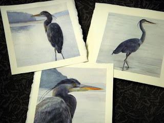 Blue Heron paintings by Nancy Van Blaricom