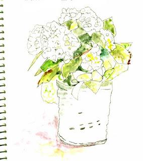 1.2.09 Hydrangea Contour Sketch- Nancy Van Blaricom