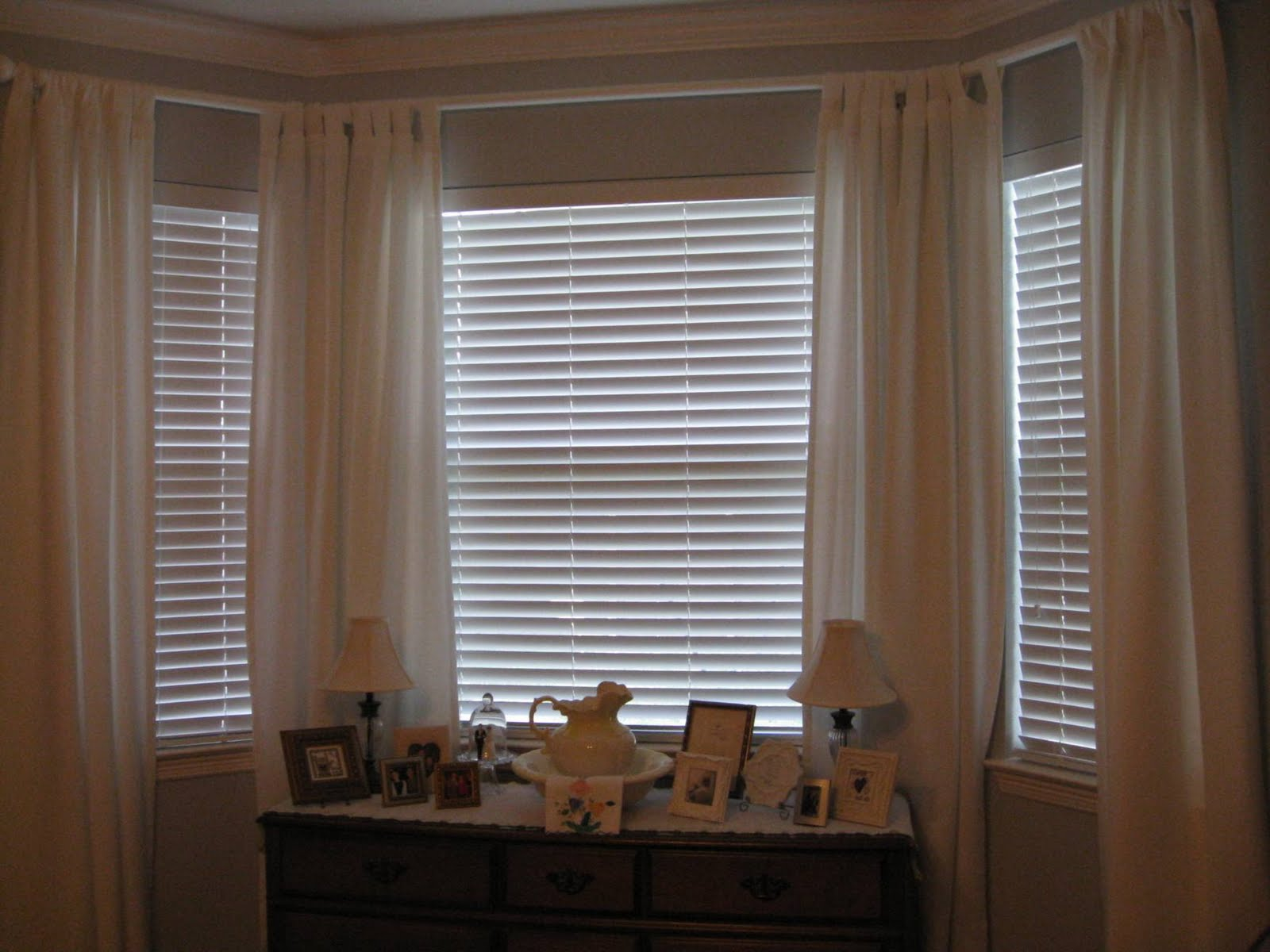 blinds and curtains for bay window home pinterest