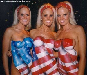 american with Naked flag women