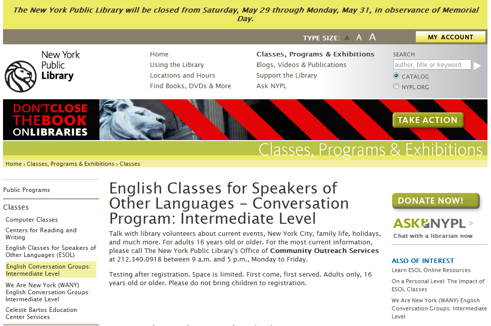 Image Result For Free English Classes In Astoria