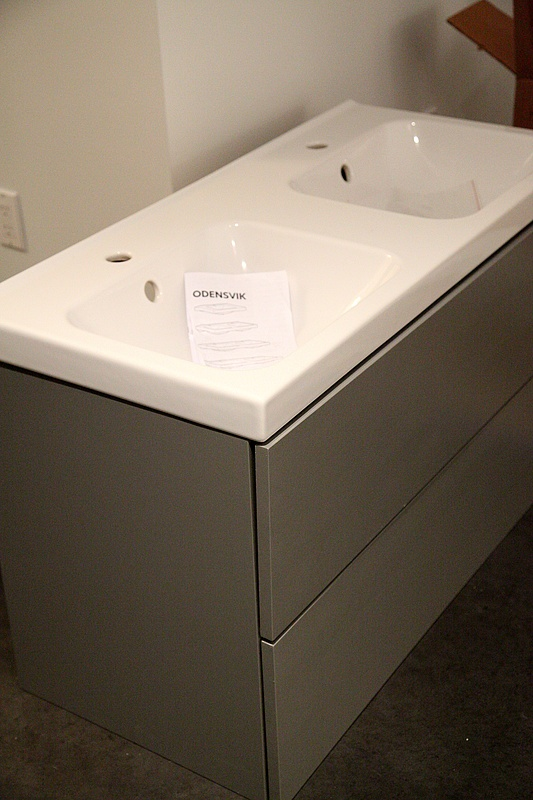 Ikea Galant Birch Veneer Desk ~ Here is the ikea odensvik sink on top of the painted godmorgon vanity
